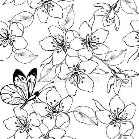 450x450 Hand Drawn Branch Of Cherry Blossom, Pear, Apple Tree