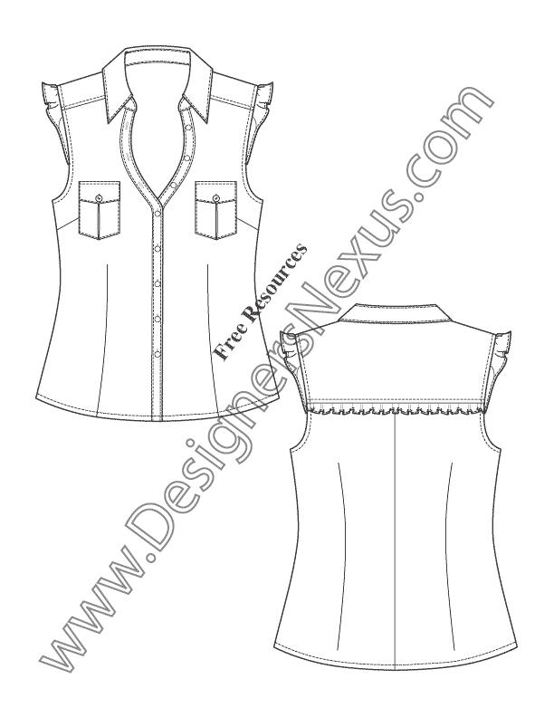 612x792 Flutter Sleeve Blouse Flat Fashion Sketch Template Art