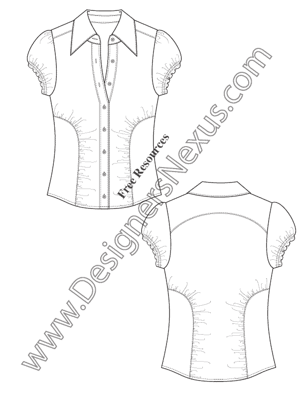 612x792 Ruched Seam Blouse Technical Flat Fashion Drawing Free Template
