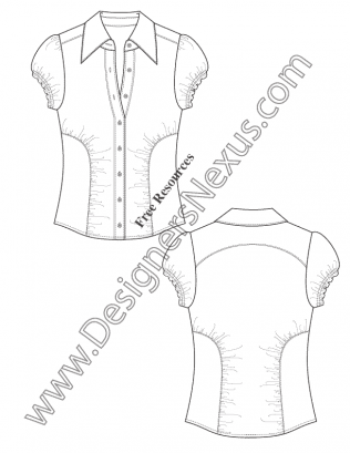 316x409 V17 Ruched Seam Blouse Technical Flat Fashion Drawing Free Template