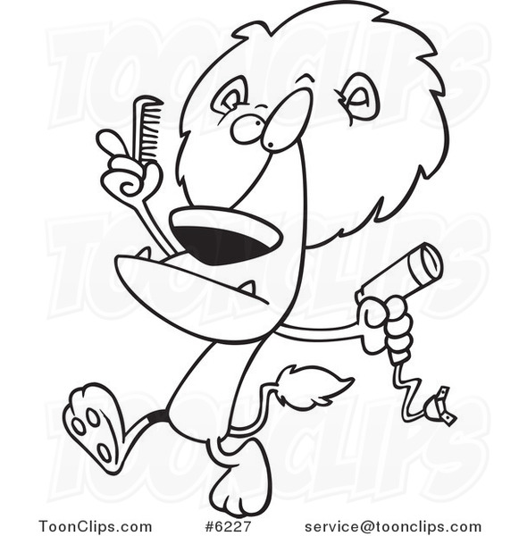 581x600 Cartoon Black White Line Drawing Of A Lion Using A Comb