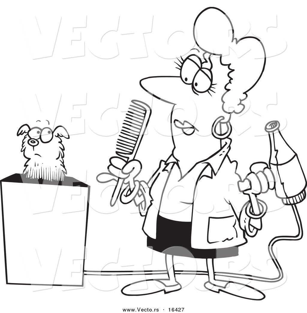 1024x1044 Vector Of A Cartoon Dog Groomer Holding A Comb And Blow Dryer