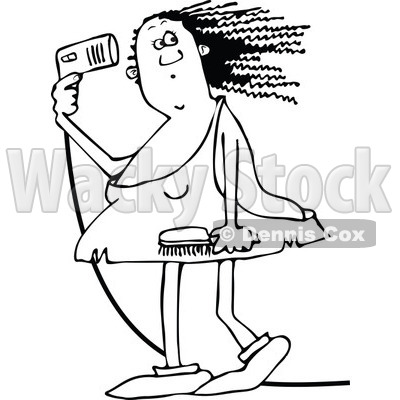 400x400 Of A Chubby Black And White Cavewoman Blow Drying Her Hair