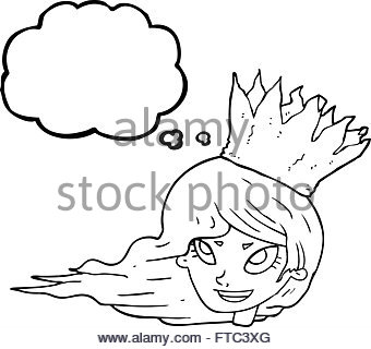 340x320 Woman With Crazy Hair Blowing A Bubble Gum Bubble Stock Photo