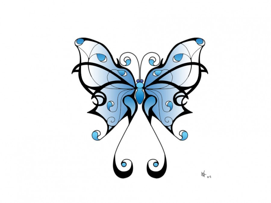 900x675 Lovely Blue Shade Tribal Butterfly Sketch For Tattoo