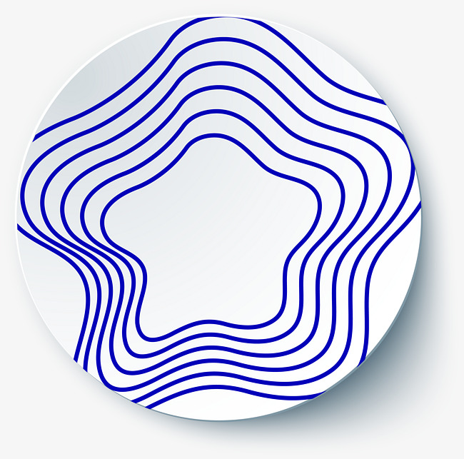 650x643 Blue Five Pointed Line, Dish Decoration, Blue Line, Geometric