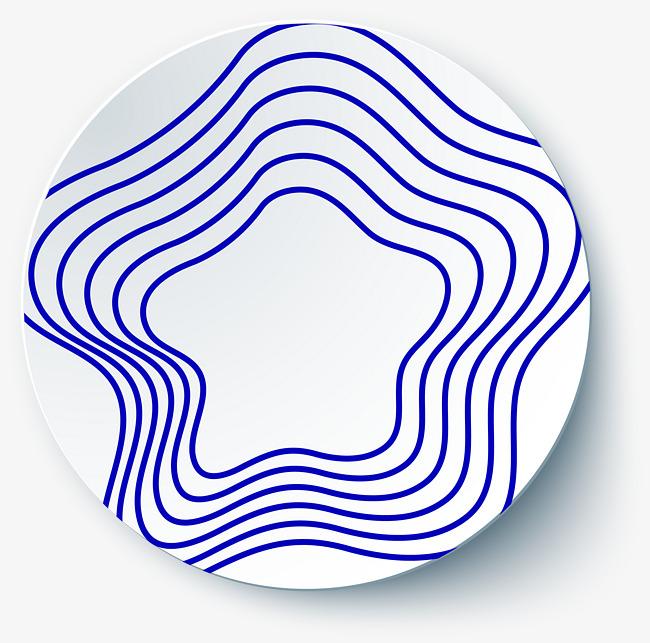 650x643 Blue Five Pointed Line, Dish Decoration, Blue Line, Geometric
