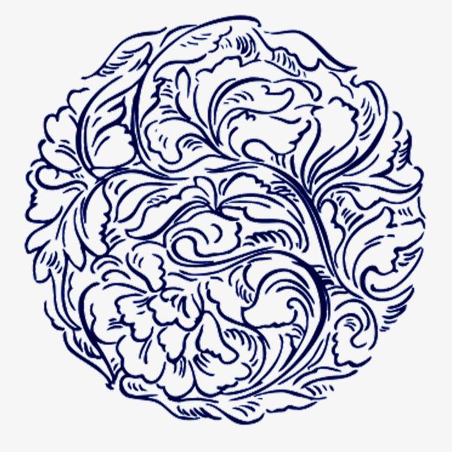 650x651 Blue Round Flower Pattern, Flower Pattern, Ancient Flowers