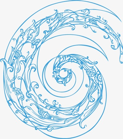 397x450 Blue Spiral Pattern Abstract Art Exhibition, Blue, Rotary