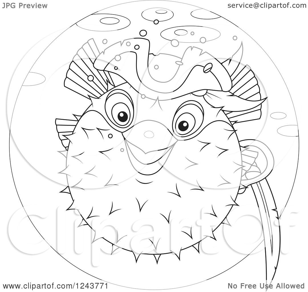 1080x1024 Clipart Of A Black And White Pirate Puffer Fish In A Blue Circle