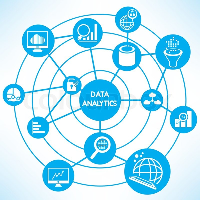 800x800 Data Analytics, Blue Connecting Diagram Stock Vector Colourbox