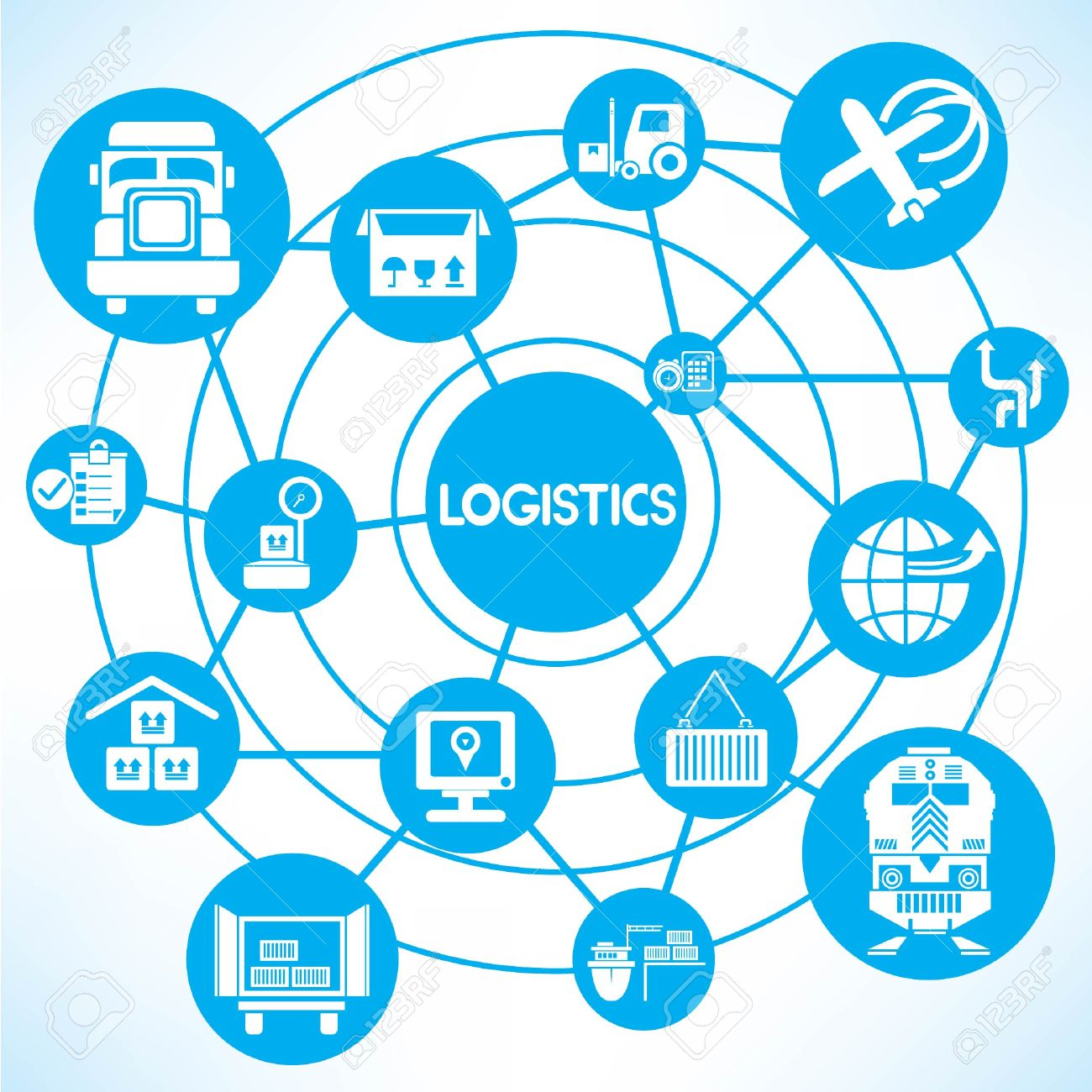 1300x1300 Logistic Network, Blue Connecting Network Diagram Royalty Free