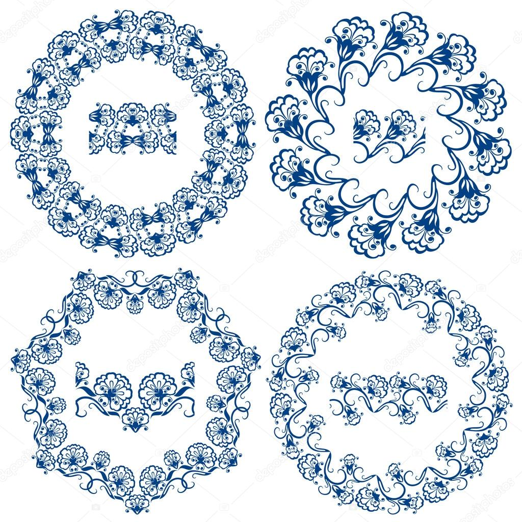1024x1024 Set Of Blue Floral Circle Frames. Background In The Style Of Ch