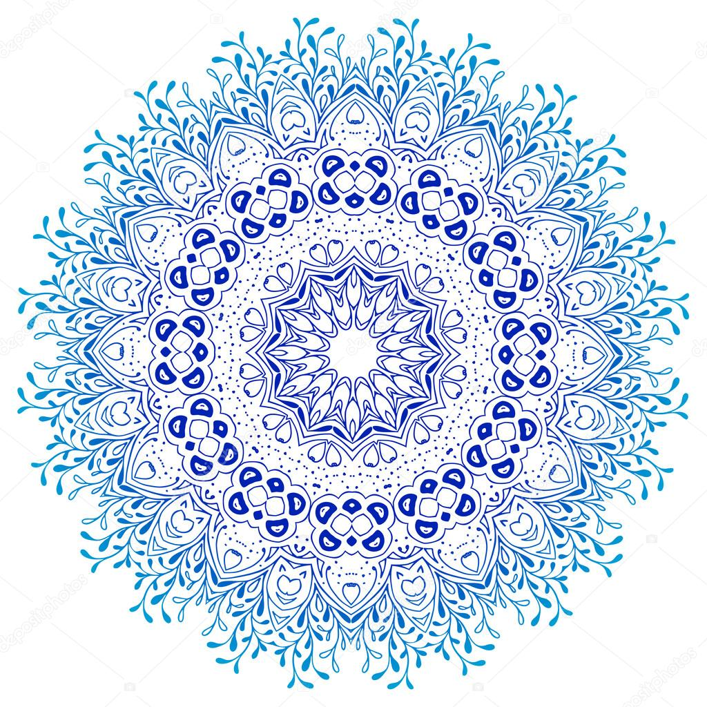 1024x1024 Vector Mandala Ornament. Round Floral Pattern. Hand Drawn