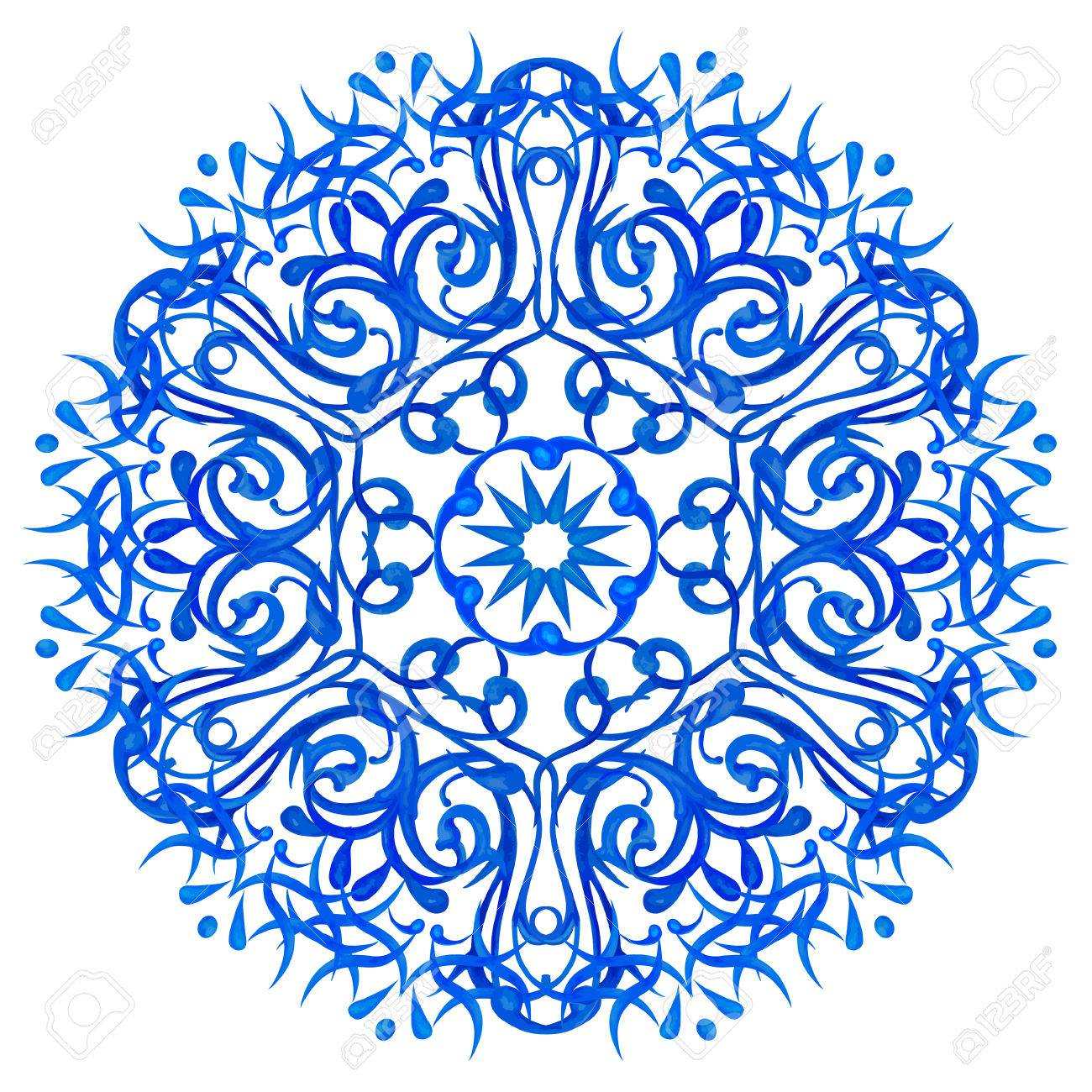 1300x1300 Watercolor Blue Circular Pattern In An Asian Style On A White