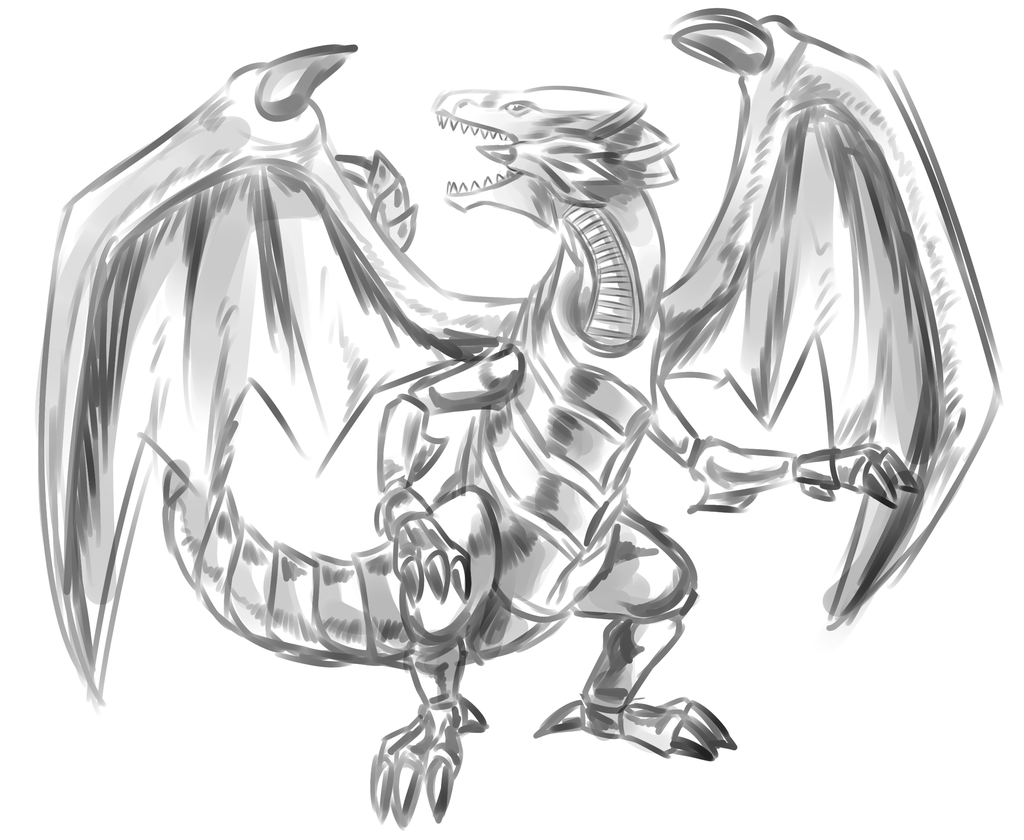 1024x840 Blue Eyes White Dragon Sketch By Kyuubicore