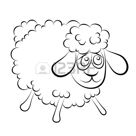 450x450 Illustration Of A Cheerful Lamb With Blue Eyes Coloring Book