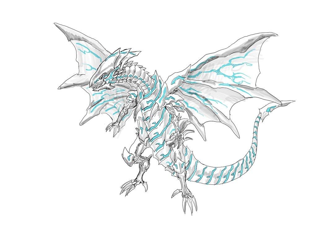 1024x768 Blue Eyes Alternative White Dragon By Richardkartman