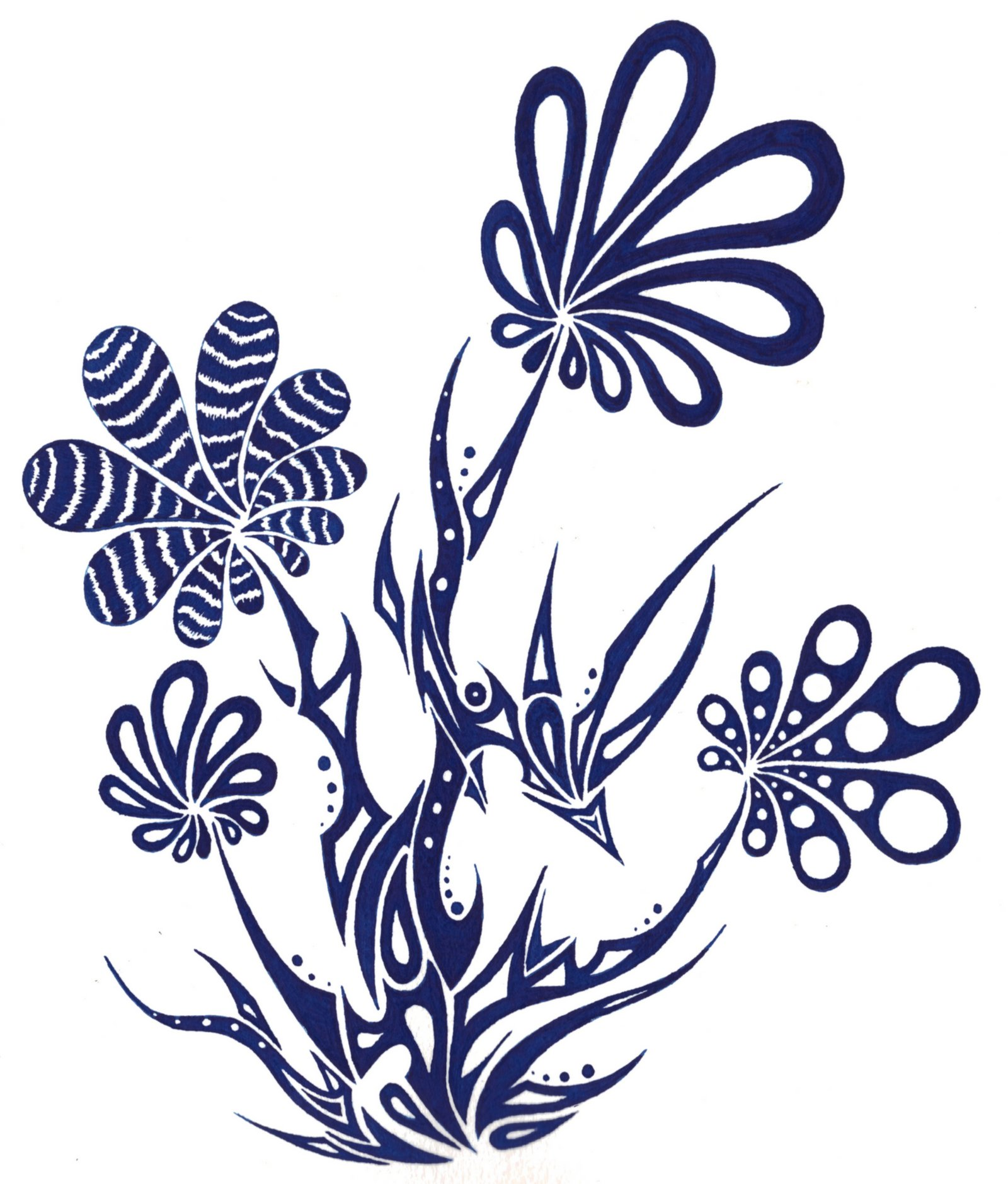 Blue flowers drawing at getdrawings free for personal use blue 1600x1879 tribal blue flowers by dessins fantastiques on deviantart izmirmasajfo