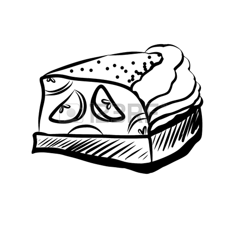 450x450 Hand Drawn Sketch Of Black And White Piece Of Cheesecake. Vintage