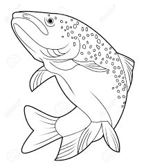 208x243 Trout Drawing Outline Jumping Trout Rainbow Trout
