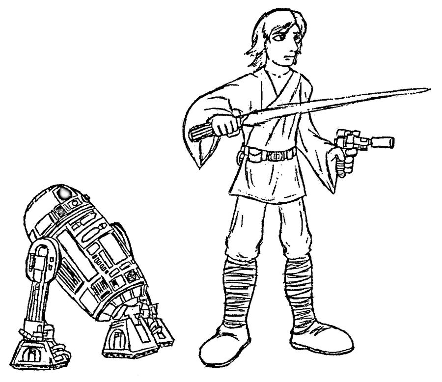 900x778 Luke Skywalker And R2 D2 By Blues Lesharpe