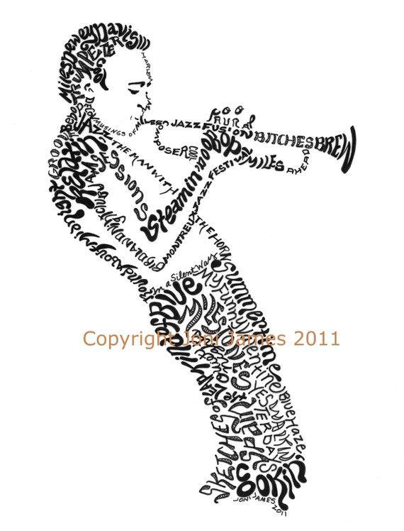 570x748 Portrait Of Miles Davis Art Typography Drawing, Jazz Musician