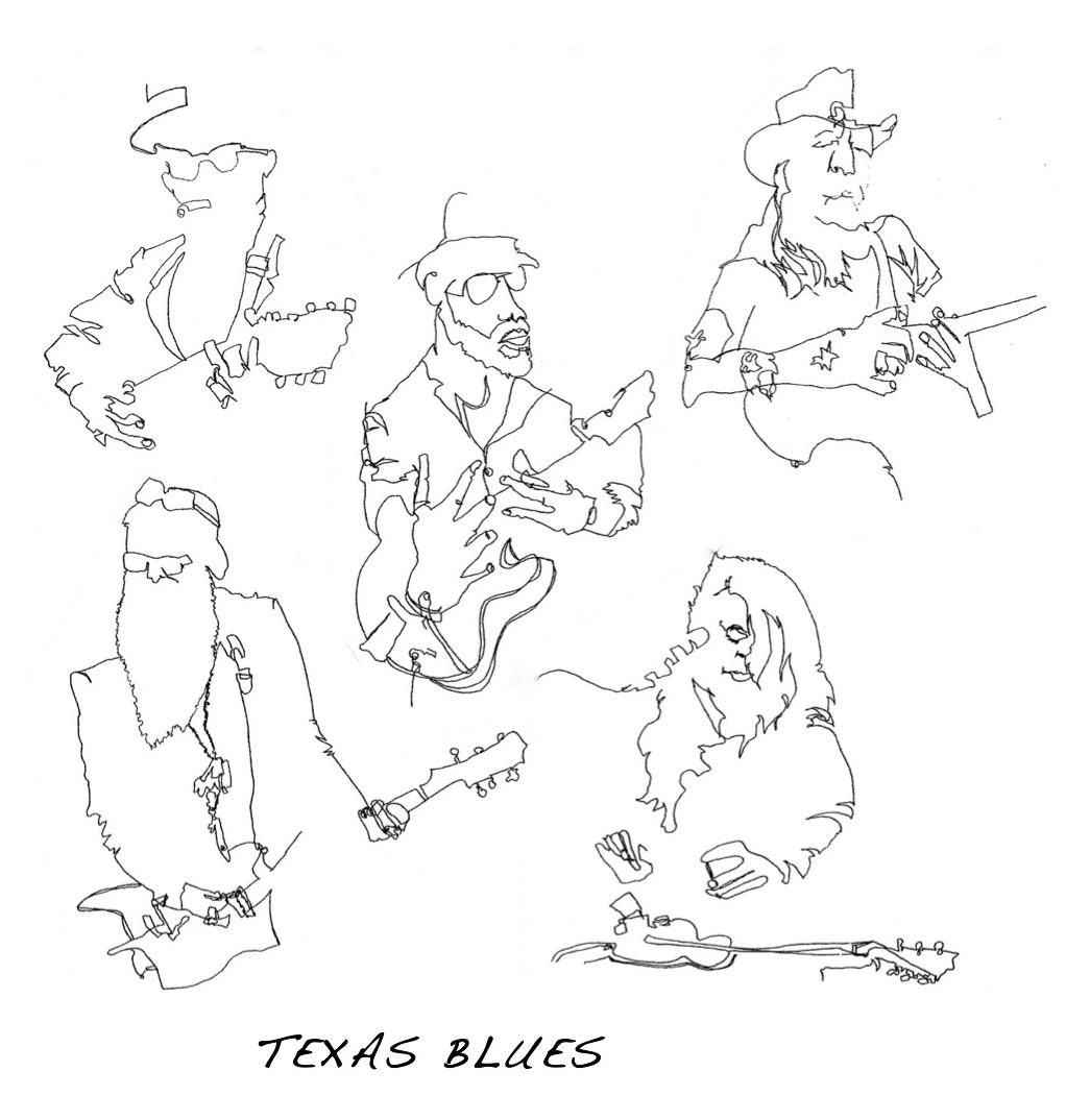 1022x1074 Texas Blues Series Blind Contour Drawings Deb