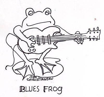 400x372 Blues Frog Drawing By James Christiansen