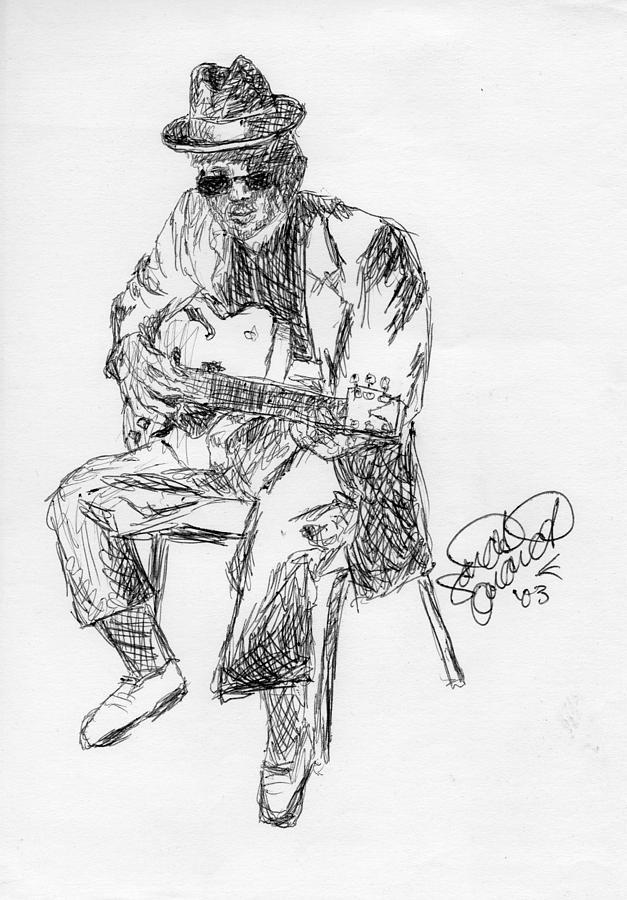 627x900 Blues Man Drawing By Sarah Quandt