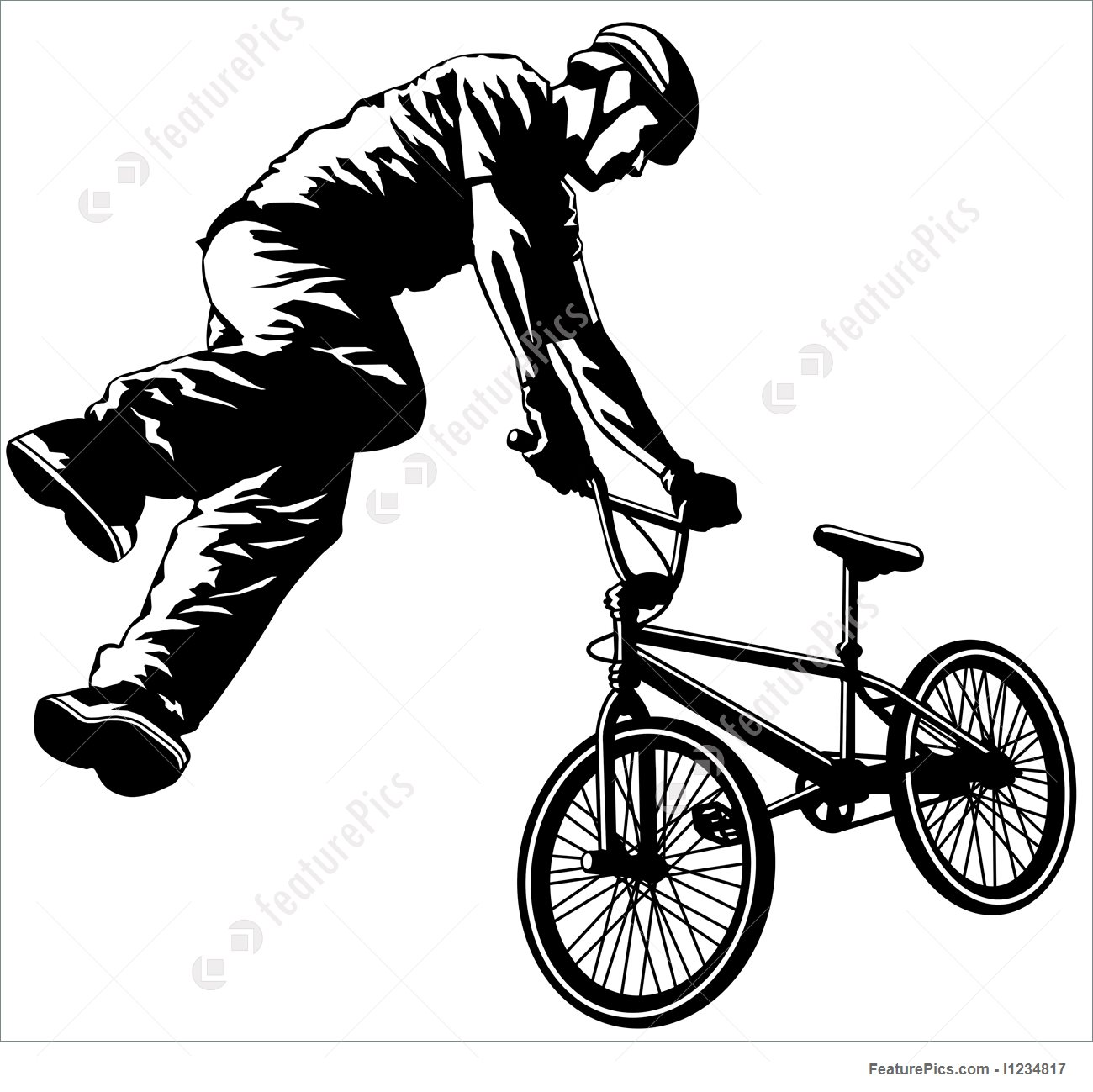 1300x1299 Flying Bmx Stock Illustration I1234817