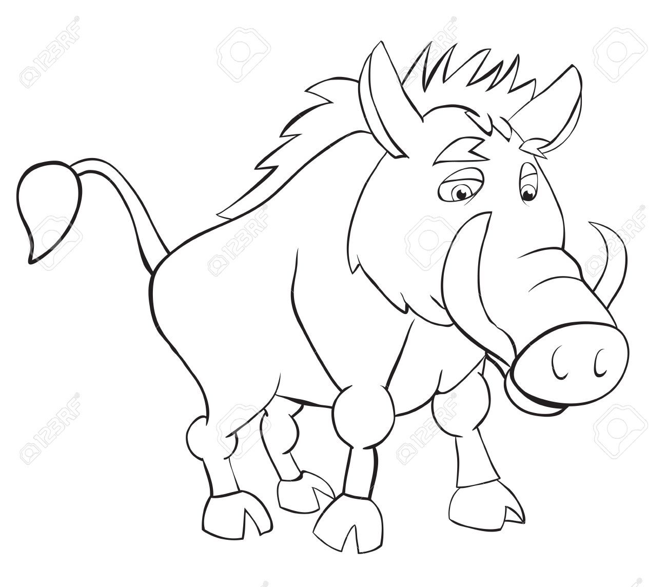 1300x1144 Fan Wild Boar. Outline Drawing Royalty Free Cliparts, Vectors,