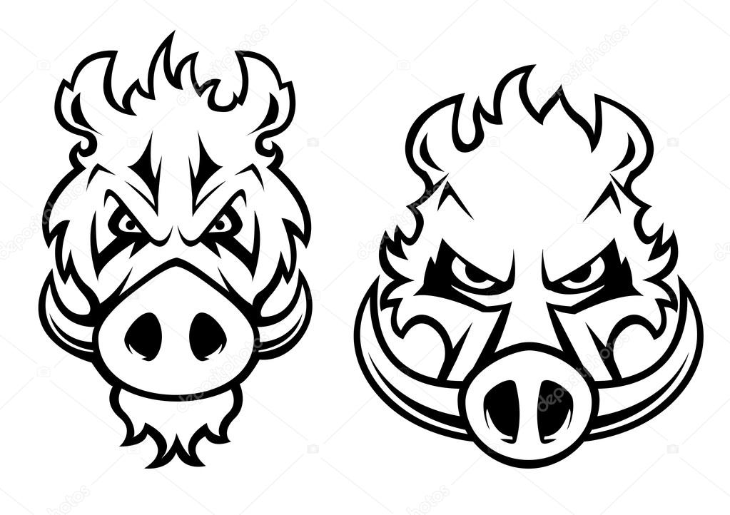 1023x722 Angry Wild Boar Heads Character Stock Vector Seamartini