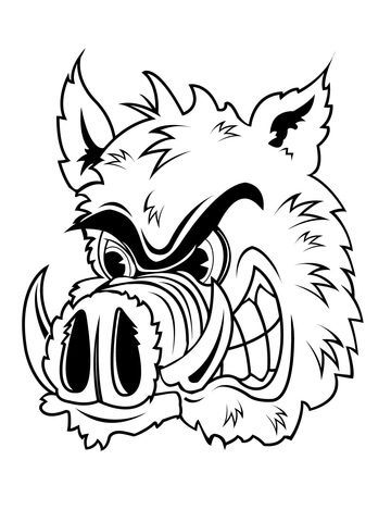 360x480 Wild Boar Head Coloring Page Free Printable Coloring Pages