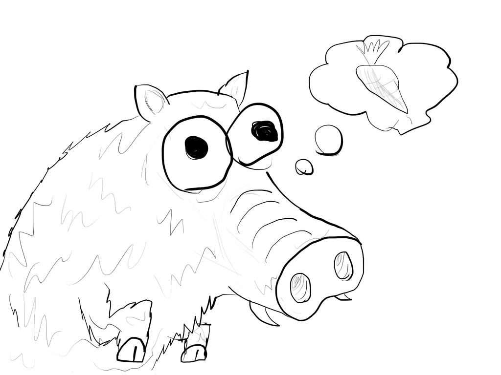 1024x768 Wild Boar Sketch By Mravocadoman420