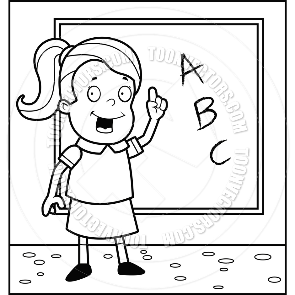 940x940 Schoolgirl Blackboard (Black And White Line Art) By Cory Thoman