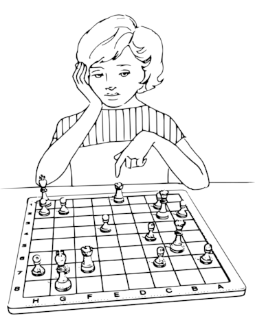 371x480 Girl Playing Chess Coloring Page Free Printable Pages