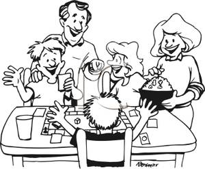 300x247 Family Playing Board Games Clipart