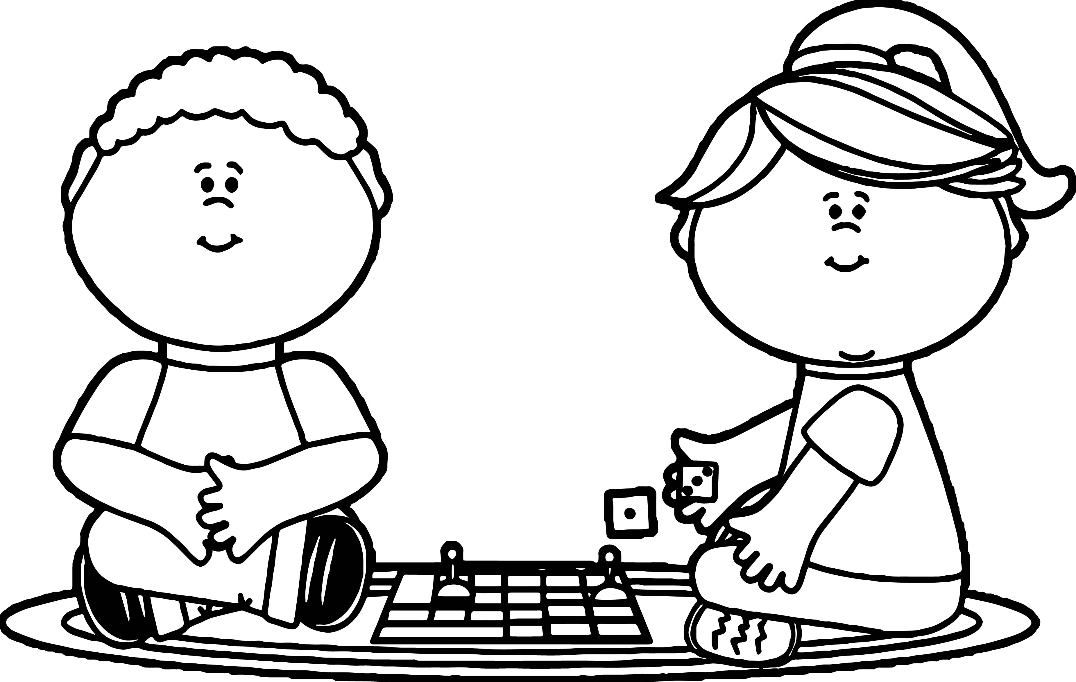 3703x2347 Kids Playing Board Games Coloring Page Printable Coloring Sheets