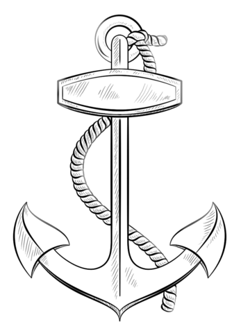 347x480 Anchor With Rope Coloring Page Free Printable Coloring Pages