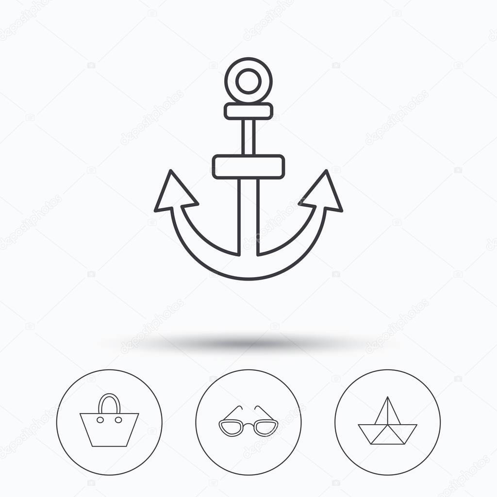 1024x1024 Paper Boat, Anchor And Glasses Icons. Stock Vector Tanyastock