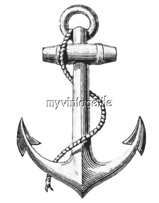 550x699 Vintage Ship Anchor Sailing Boat Anchors Quilting Fabric Block 5x7