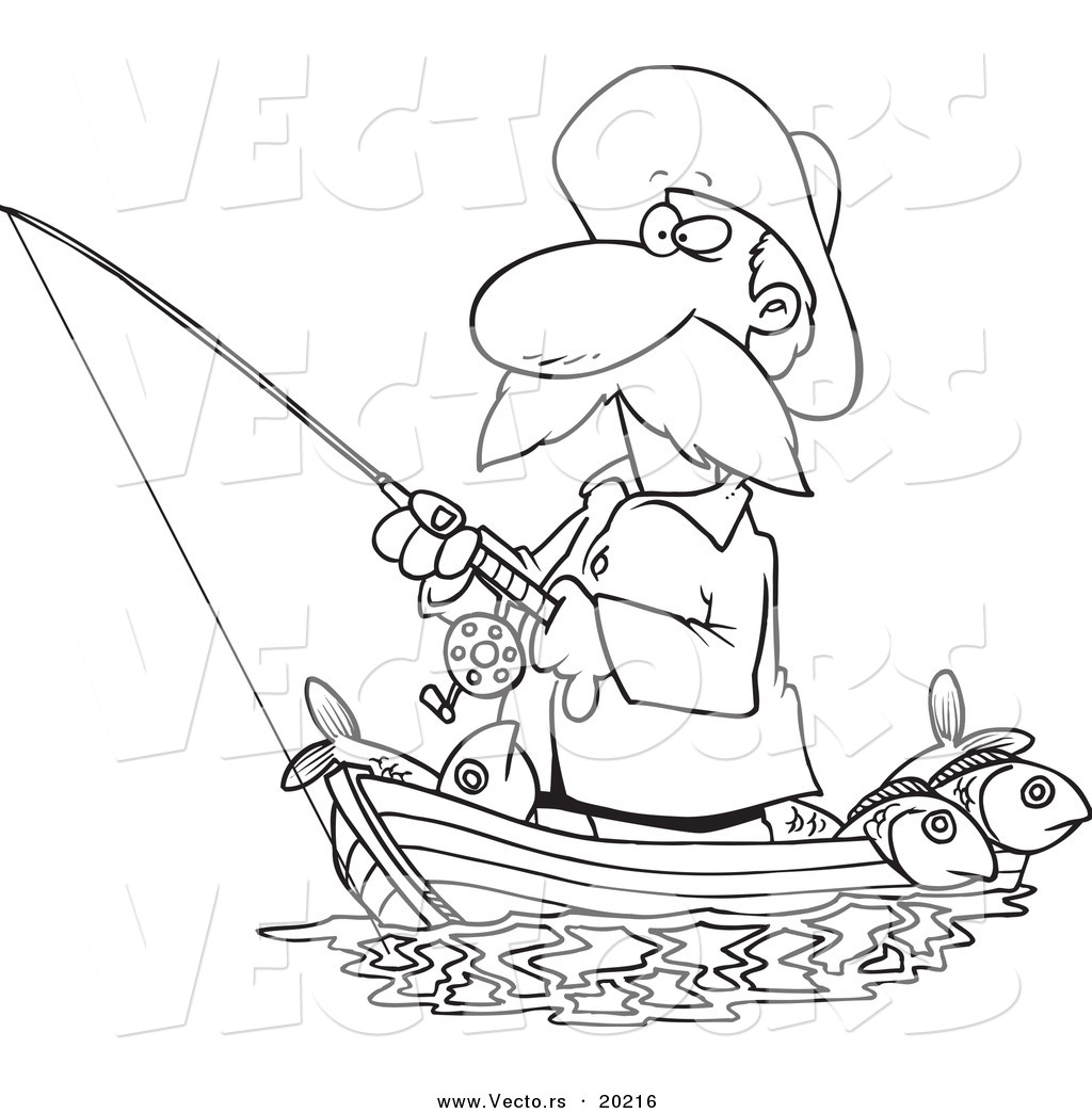 1024x1044 Vector Of A Cartoon Fisherman Standing In His Boat Outlined