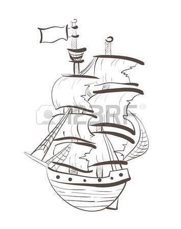 355x450 Sailing Boat Floats On Full Sails, Drawing Concept Royalty Free