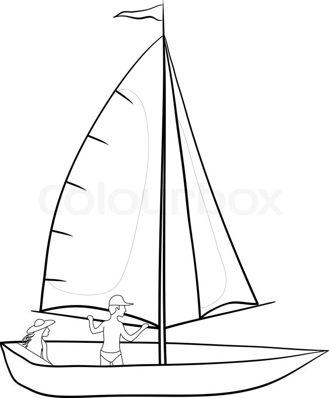 663x800 Sailing Boat With A Man And A Woman, Contours On White Background