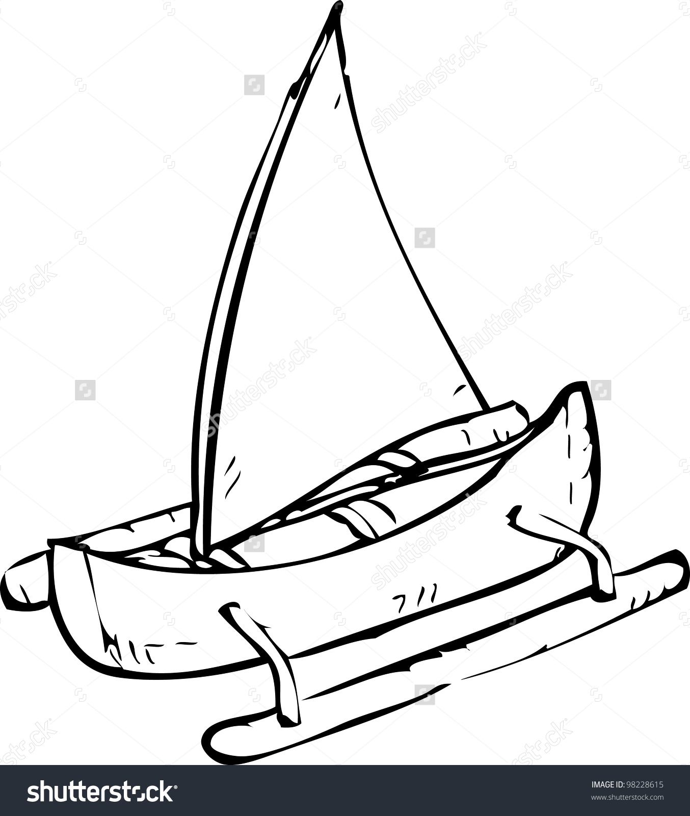 1354x1600 Simple Drawing Of Boat Simple Hand Drawing Sailing Boat Stock