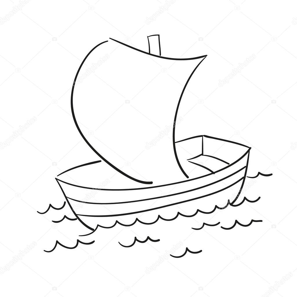 1024x1024 Vector Sketch Of The Boat Stock Vector Lizalutik