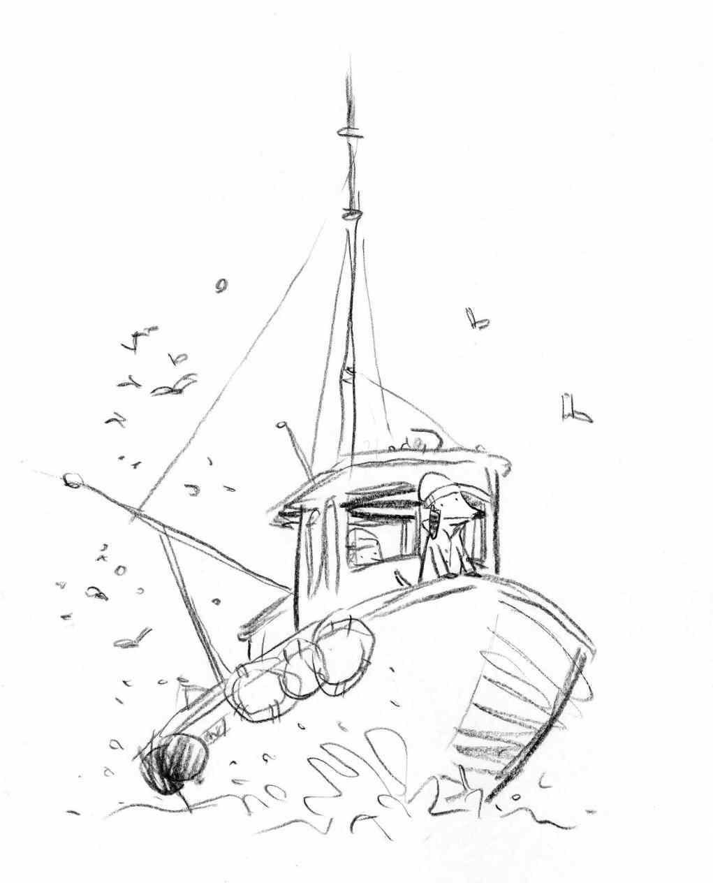 1021x1264 Sport Fishing Boat Drawing