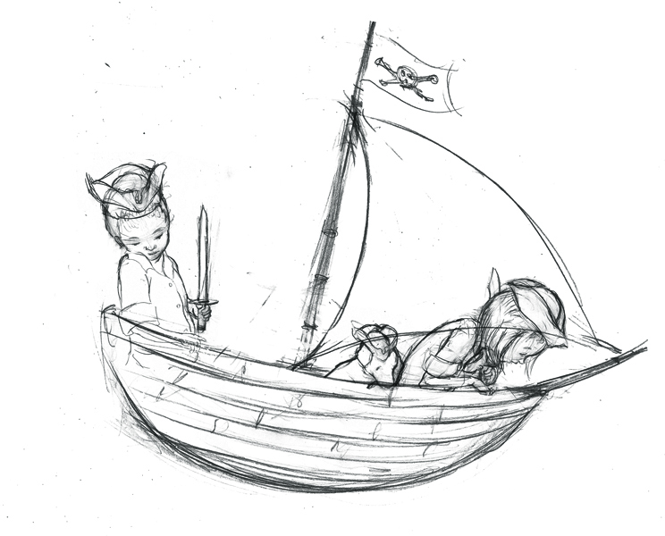 744x600 Jed Alexander Two Pirate Kids In A Boat