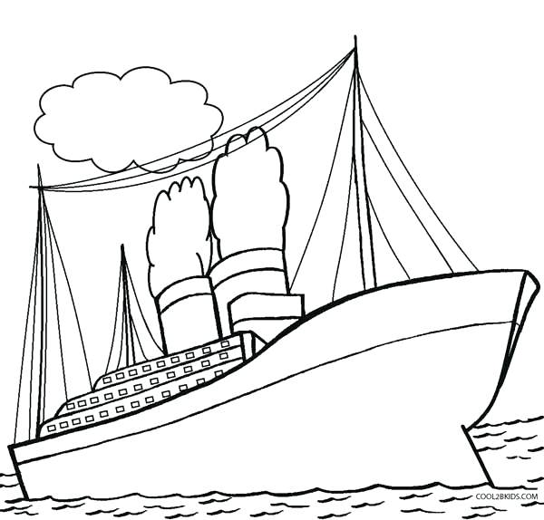600x574 Lovely Titanic Coloring Pages Printable Image Simple Ship Drawing